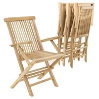 DIVERO Stuhl Teak Holz 4er Set klappbar massiv Holzstuhl Armlehne unbehandelt