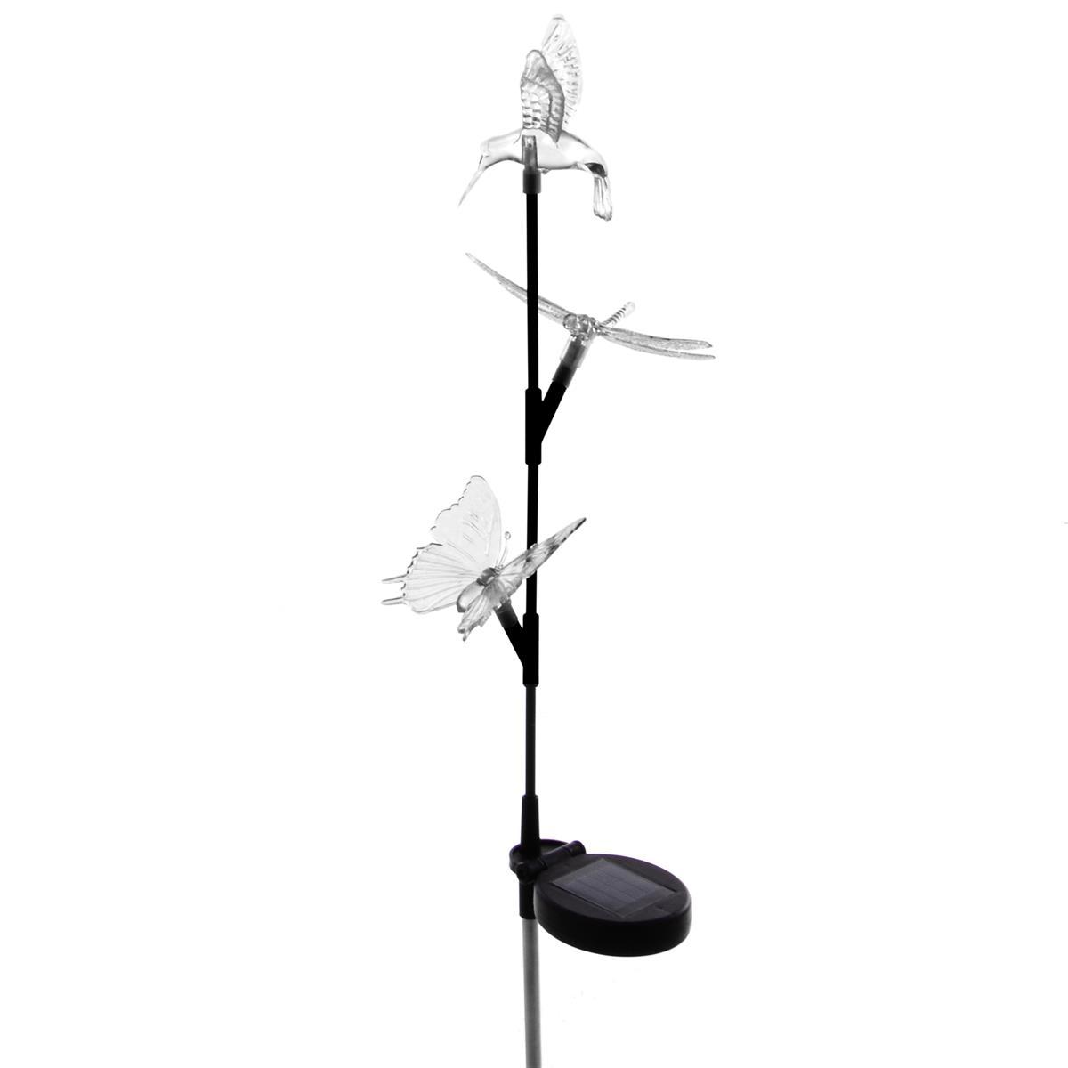Solar LED Deko Leuchte mit 3 Solar-Tierfiguren Gartenlampe