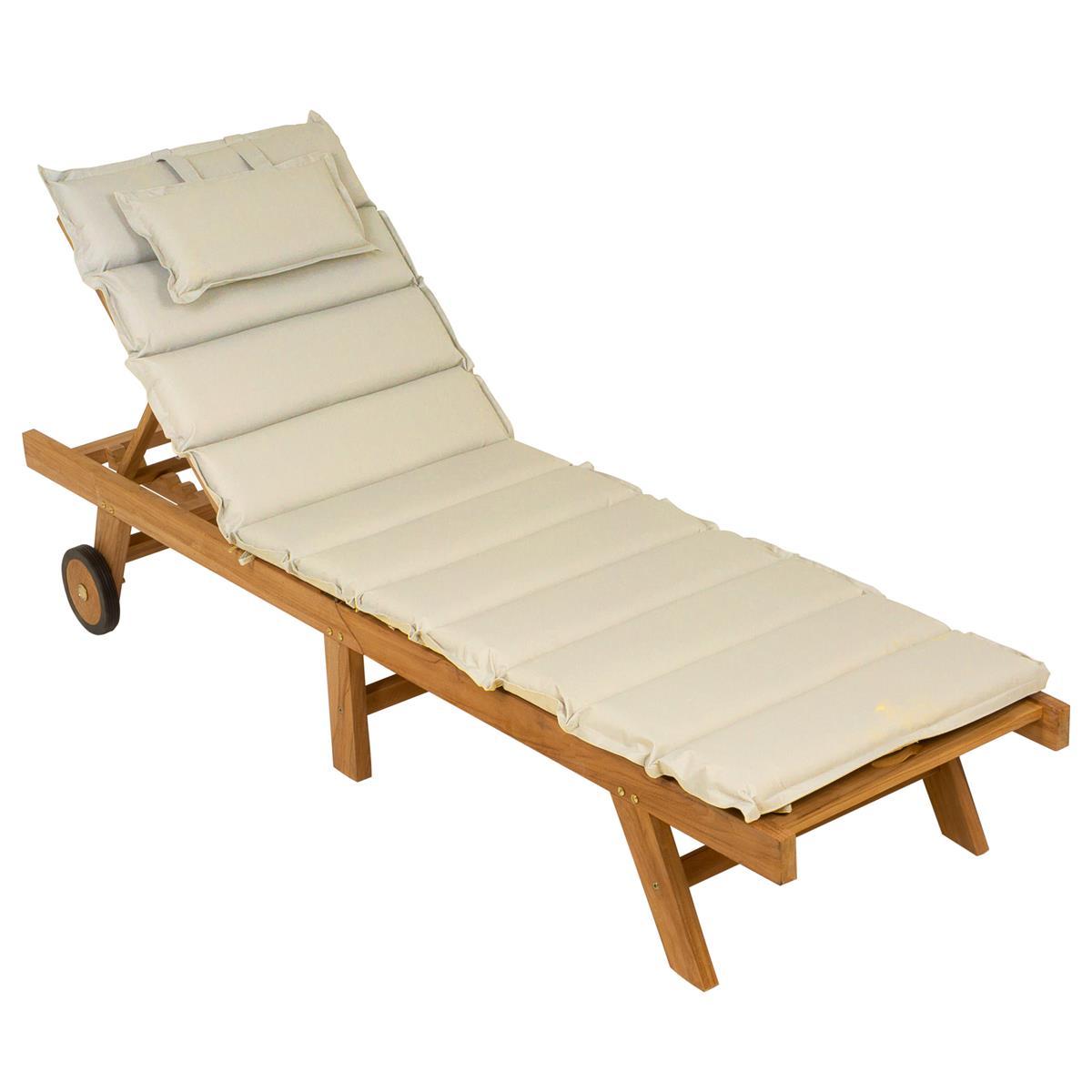 DIVERO Sonnenliege Gartenliege klappbar Teak-Holz behandelt Auflage creme