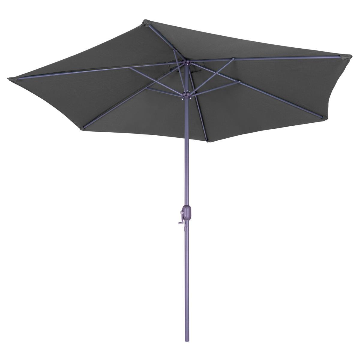 Sonnenschirm 3 m anthrazit mit Kurbel wasserabweisend UV Schutz 50+