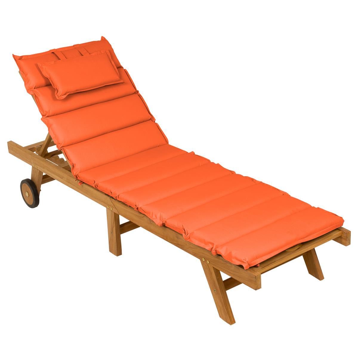 DIVERO Sonnenliege Gartenliege klappbar Teak-Holz behandelt Auflage orange