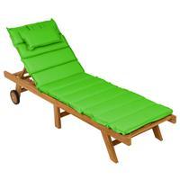 DIVERO Sonnenliege Gartenliege klappbar Teak-Holz behandelt Auflage hellgrün