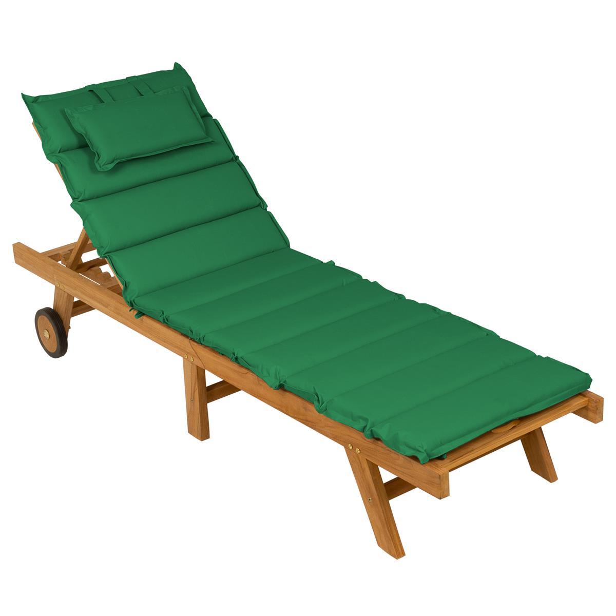 DIVERO Sonnenliege Gartenliege klappbar Teak-Holz behandelt Auflage grün