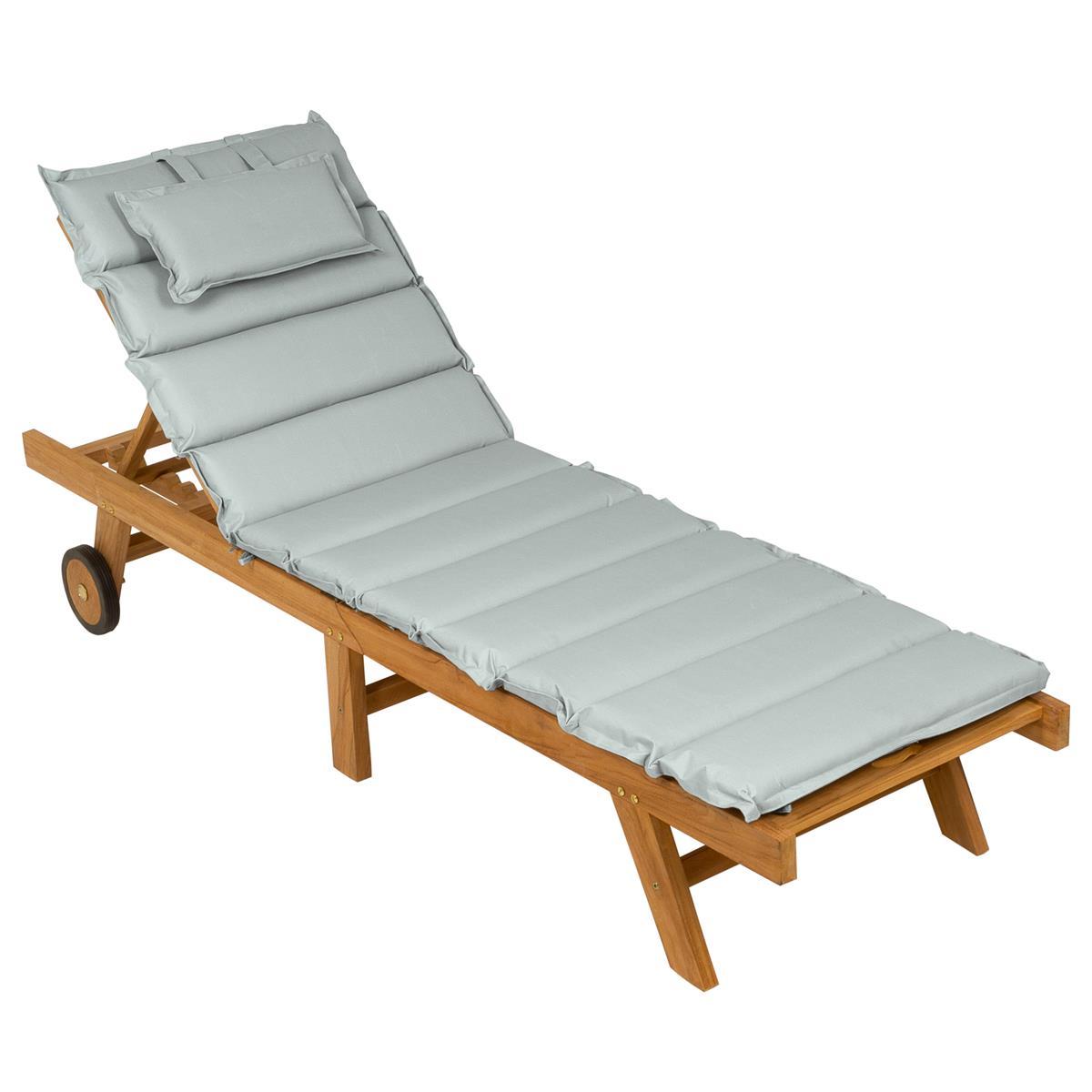 DIVERO Sonnenliege Gartenliege klappbar Teak-Holz behandelt Auflage hellgrau
