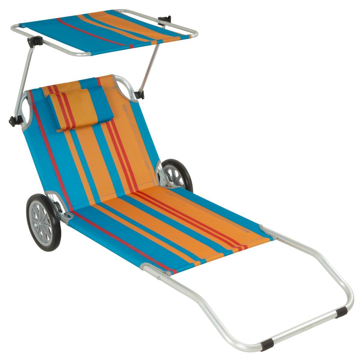 Strandliege Sonnenliege Transportliege Gartenliege mit Räder und Sonnendach bunt