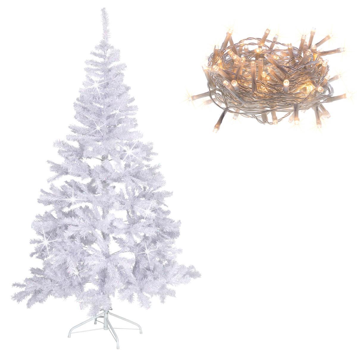 Weihnachtsbaum weiß mit Glitzereffekt 180 cm Christbaum + 200 LED Lichterkette