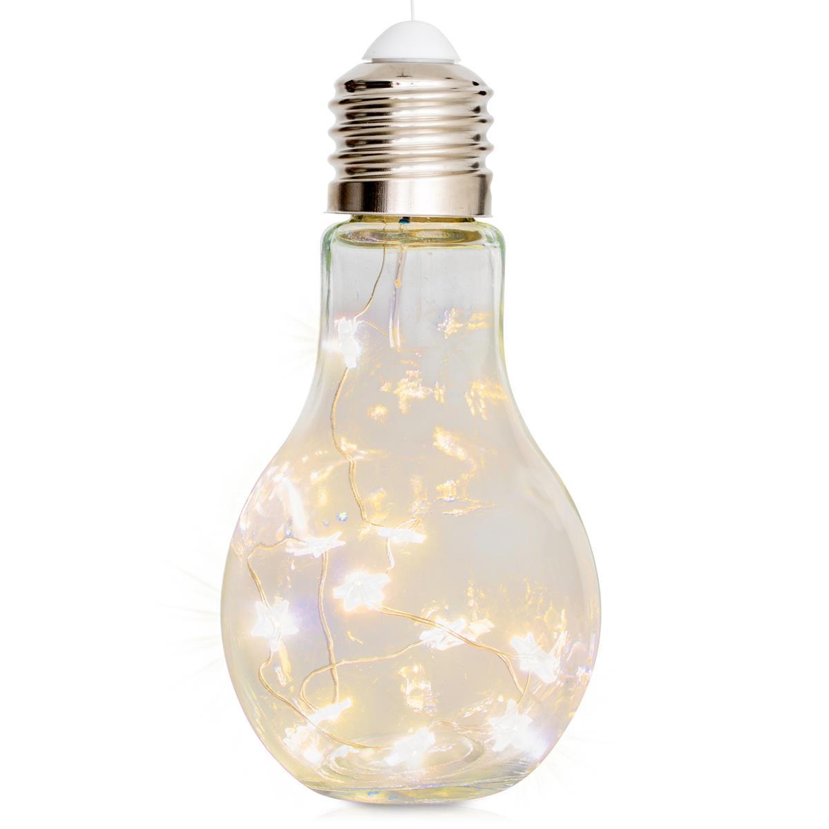 Glas-Glühbirne 10 LED warm weiß 17 cm hoch Batterie Wohndeko Partydeko