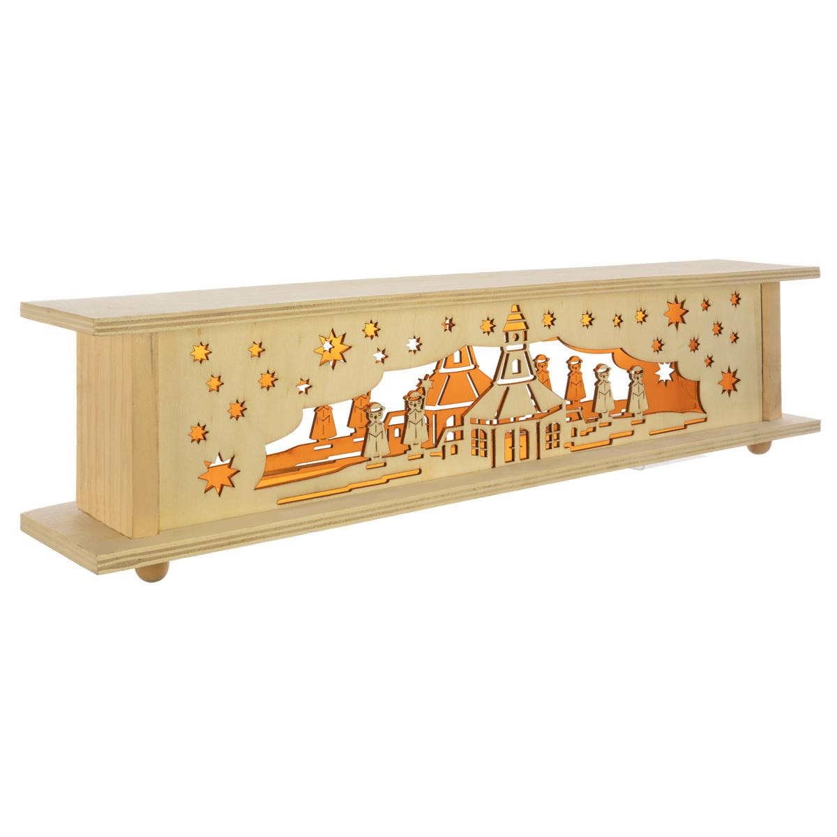 Holzpodest 10 LED warm weiß 57x10x13 cm Unterbank Lichtersockel Xmas Timer