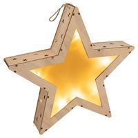 Holzstern 3D Optik 10 LED warm weiß Batterie Timer 35 cm Weihnachtsdeko Stern