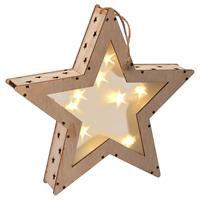 Holzstern 3D Optik 8 LED warm weiß 25 cm Batterie Timer Weihnachtsdeko Stern