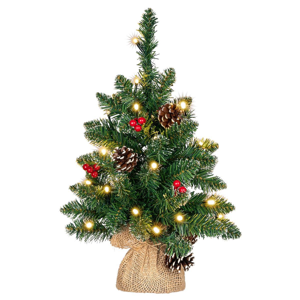 Weihnachtsbaum 20 LED warm weiß Höhe 45 cm Batterie Timer Weihnachtsdeko