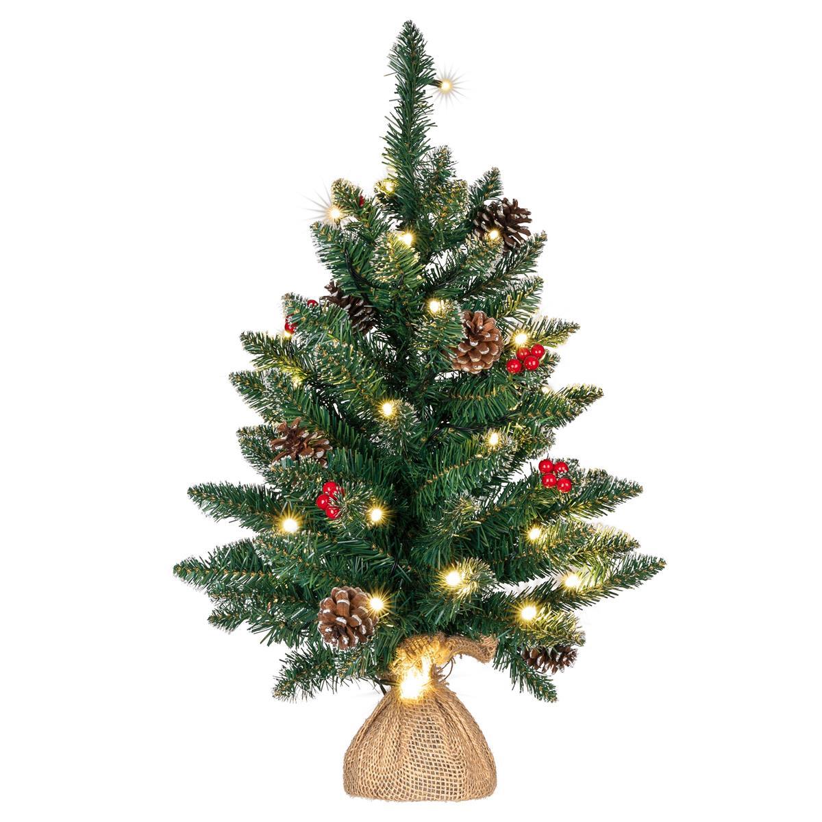 Weihnachtsbaum 30 LED warm weiß Höhe 60 cm Batterie Timer Weihnachtsdeko