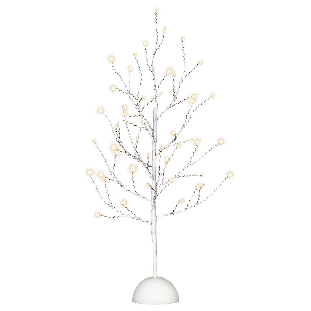 Dekobaum weiß 48 LED warm weiß Leuchtbaum Lichtbaum Batterie Timer 60 cm