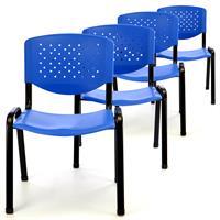 Besucherstuhl 4er Set Bürostuhl Konferenzstuhl Sitzfläche blau Kunststoff stapel