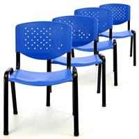 Besucherstuhl 4er Set Bürostuhl Konferenzstuhl Sitzfläche blau Kunststoff stapelbar