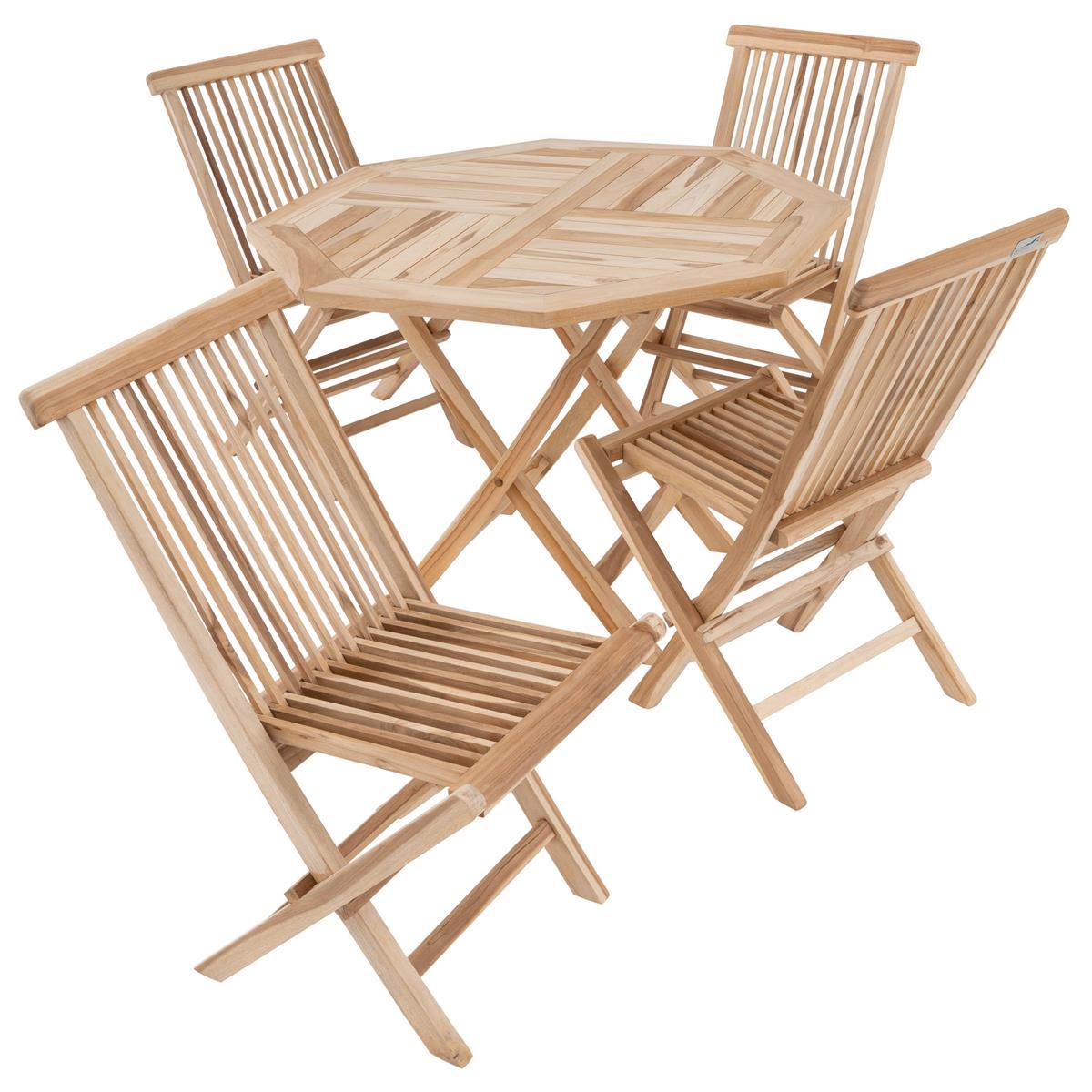 DIVERO Set Gartenmöbel Sitzgruppe Teakholz natur Stühle Tisch achteckig Ø 100