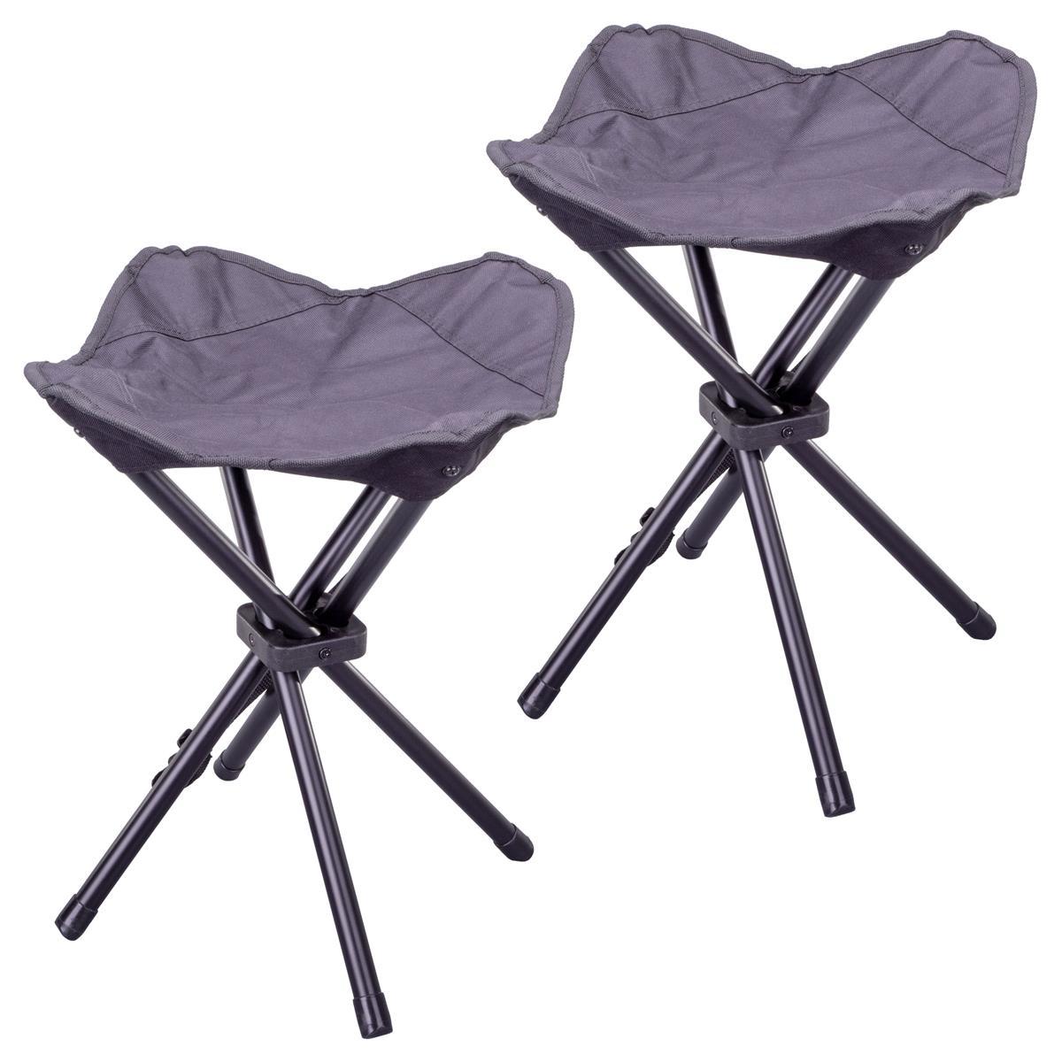 2er Set Sitzhocker Falthocker klappbar schwarz für Camping Angeln Wandern