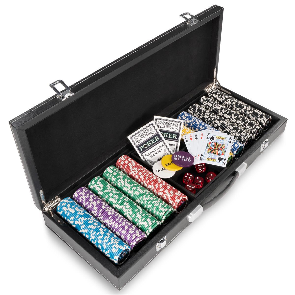 Pokerkoffer Leder Deluxe mit 500 Laser Chips 12 g abgerundet Pokerset