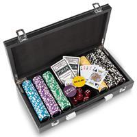 Pokerkoffer Leder Deluxe mit 300 Laser Chips abgerundet Texas Holdem Black Jack