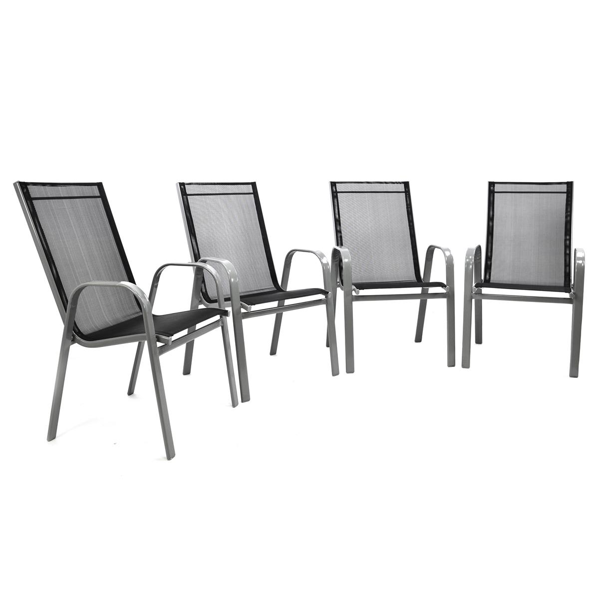 4er Set Gartenstuhl Stapelstuhl B-WARE Stahl-Rahmen dunkelgrau Bezug Schwarz