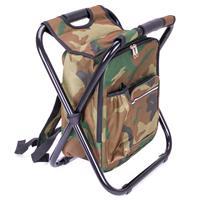Multifunktions-Rucksack Kühltasche Angelhocker Campinghocker faltbar camouflage