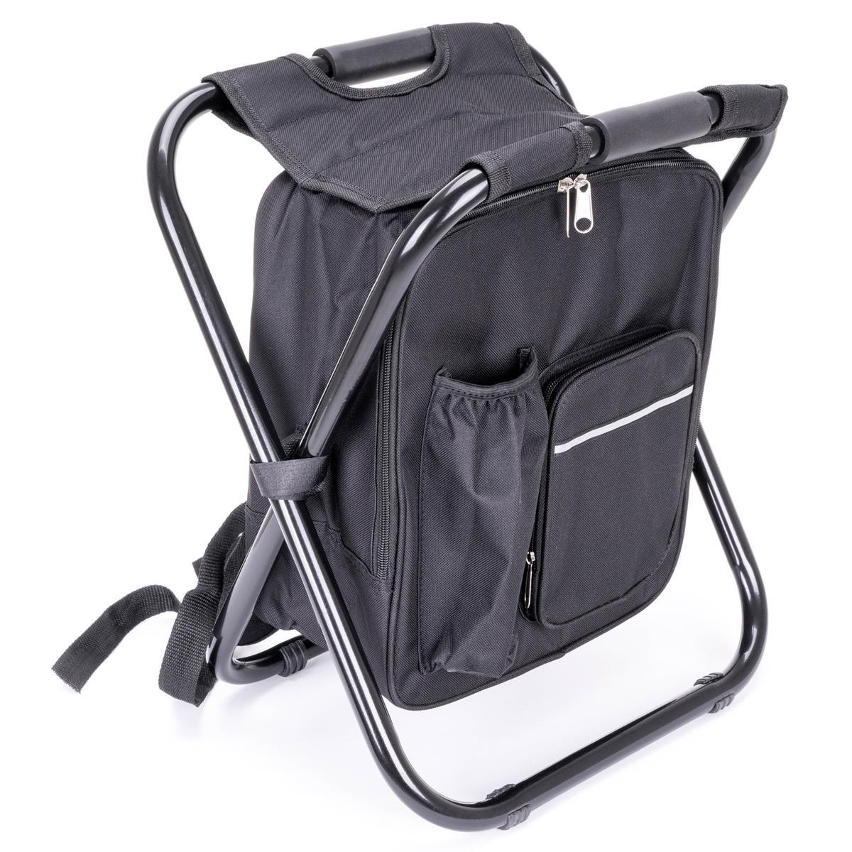 Multifunktions-Rucksack Kühltasche Angelhocker Campinghocker faltbar schwarz