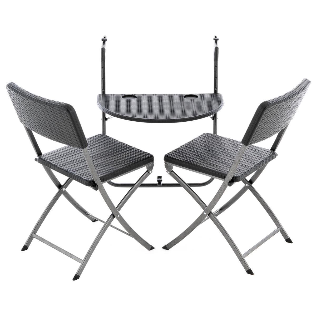 3er Set Garnitur Balkonset Balkonhängetisch 2 Stühle Rattan-Optik in Schwarz
