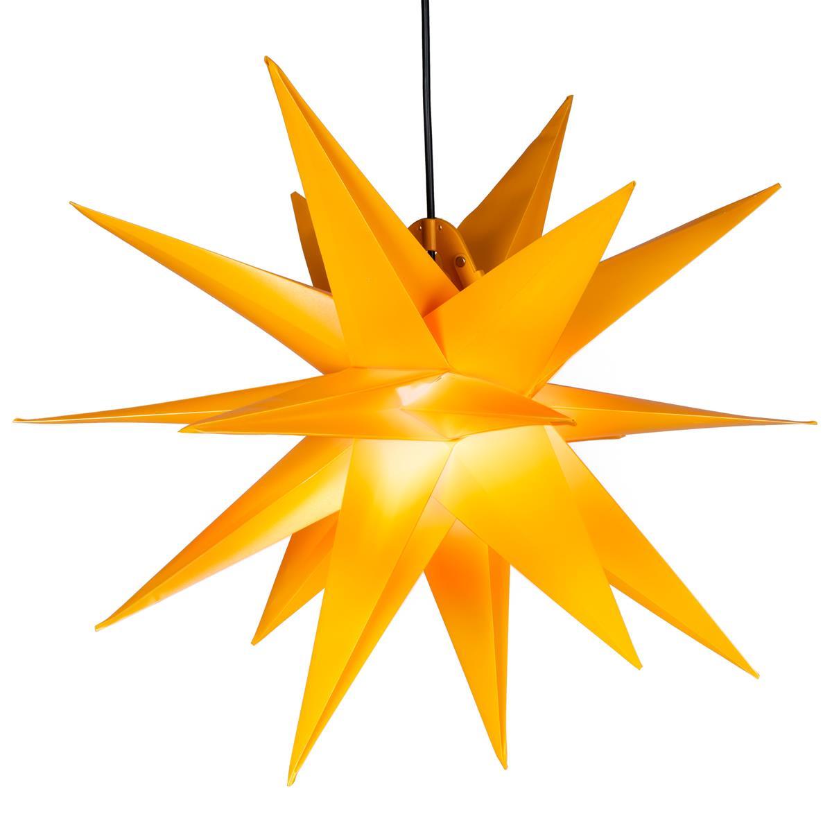 Weihnachtsstern 1 LED warm weiß Farbe GELB 3D Lichter-Stern Dekostern 55 cm