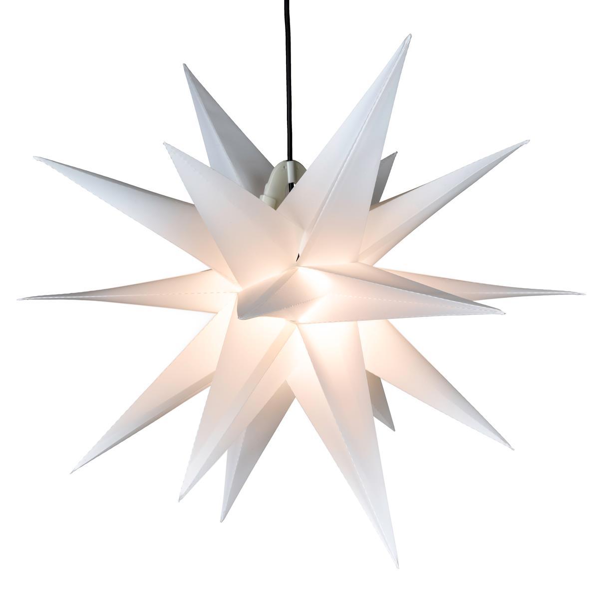 Weihnachtsstern 1 LED warm weiß Farbe WEISS 3D Lichter-Stern Dekostern 55 cm