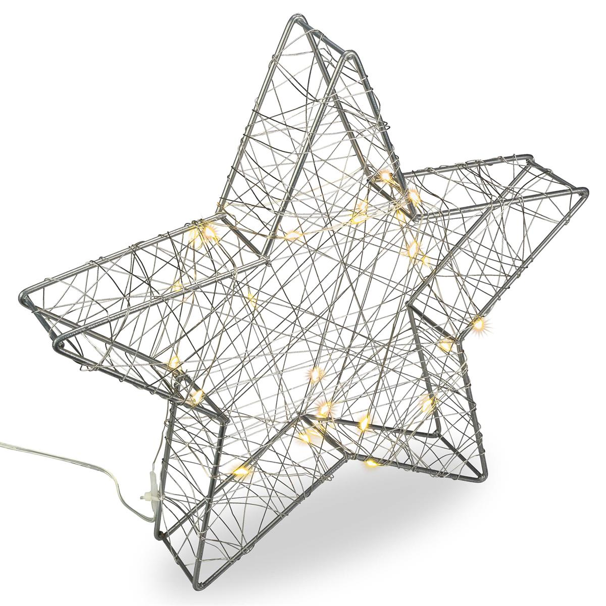 LED-Stern Dekoleuchte Metallstern 25 LED silber warm weiß Batterie Timer 30 cm