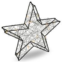 LED-Stern Dekoleuchte Metallstern 25 LED schwarz warm weiß Batterie Timer 30 cm