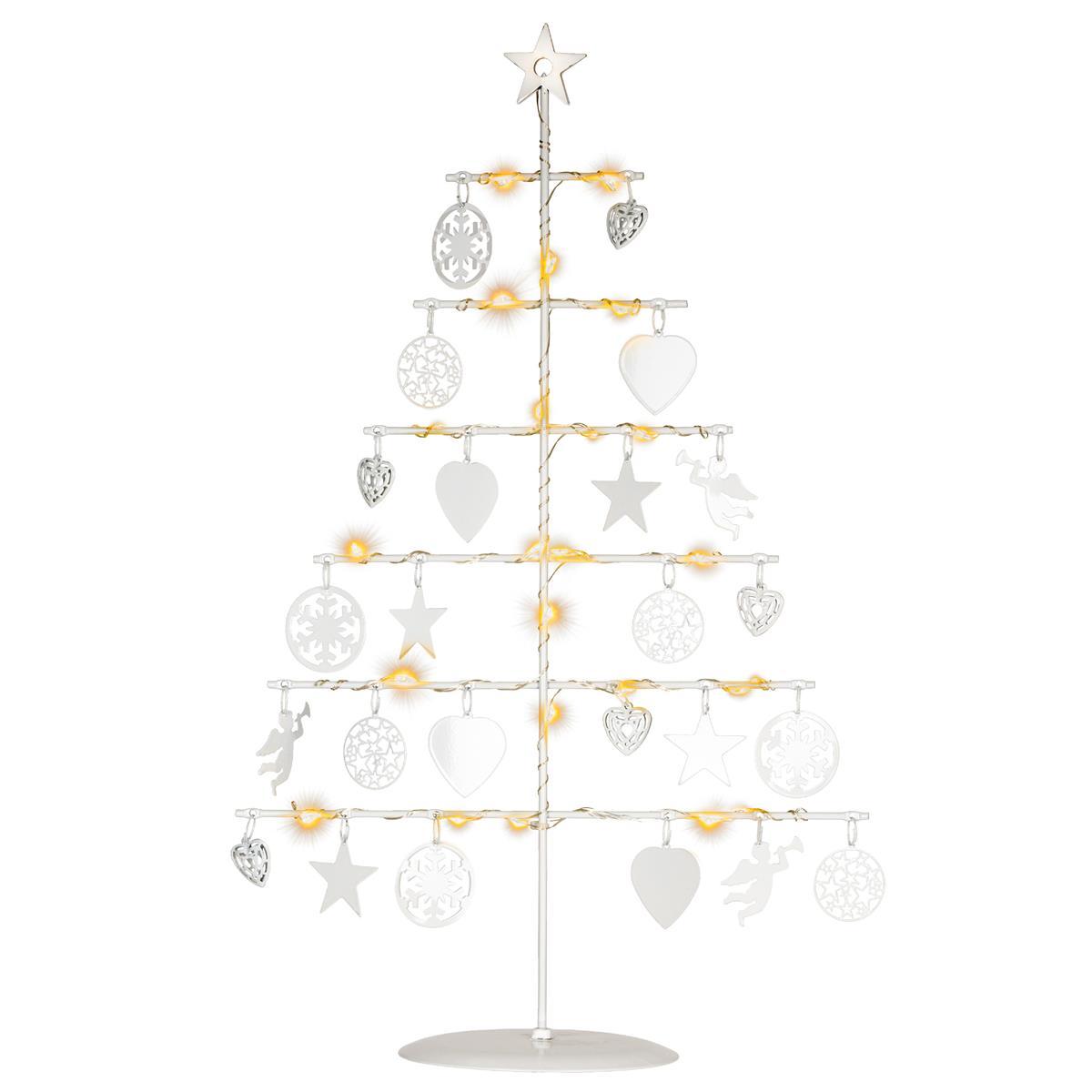 Dekobaum Metall weiß 25 LED warm weiß 42 cm Batterie Timer Lichterbaum