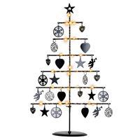 Dekobaum Metall schwarz 25 LED warm weiß 42 cm Batterie Timer Lichterbaum