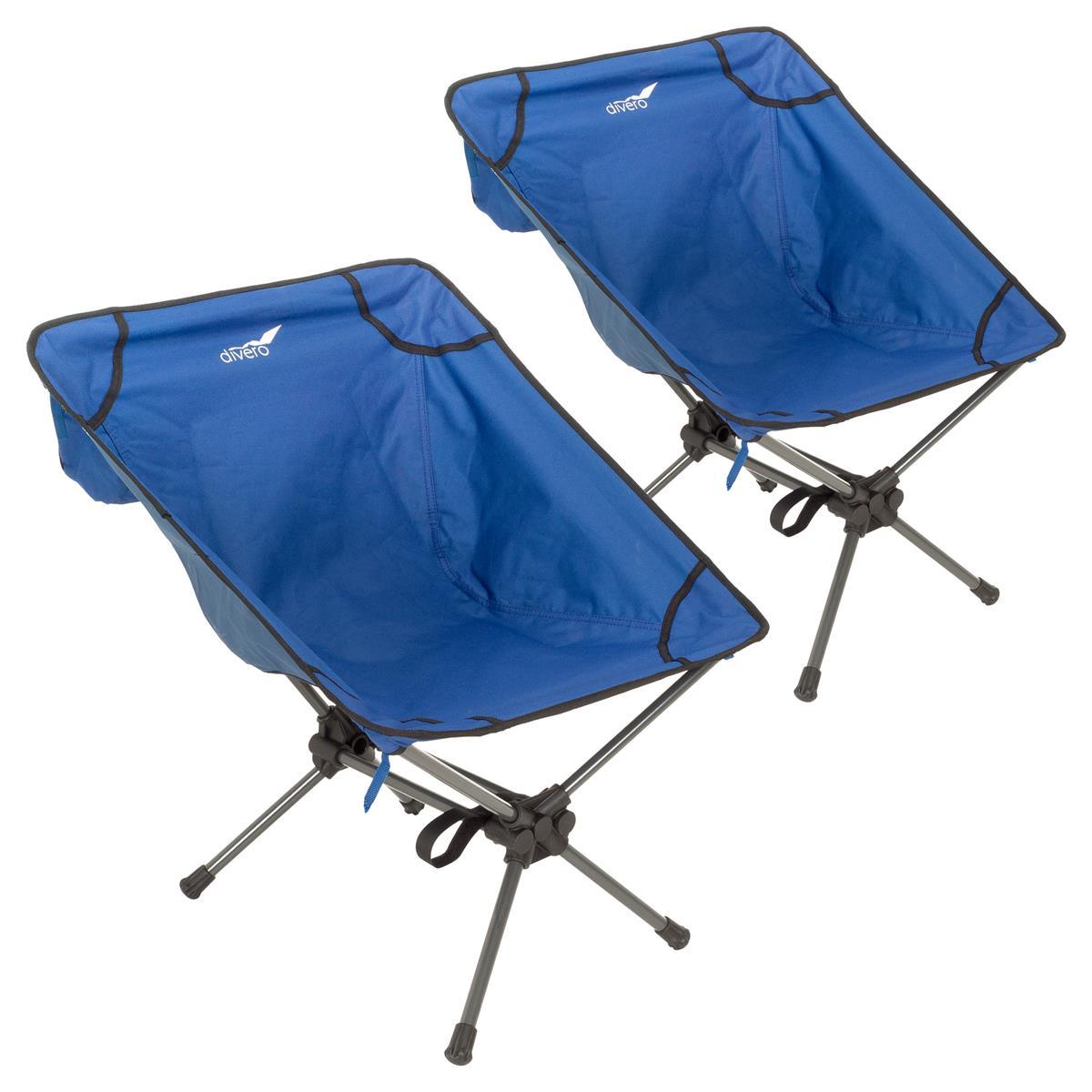 2er Set ultraleichte faltbare Campingsessel Campingstuhl Angelsitz  königsblau