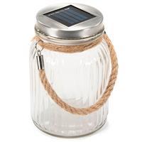 Solarglas mit 3 LED warm weiß mit Aufhänger Einmachglas Gartenbeleuchtung