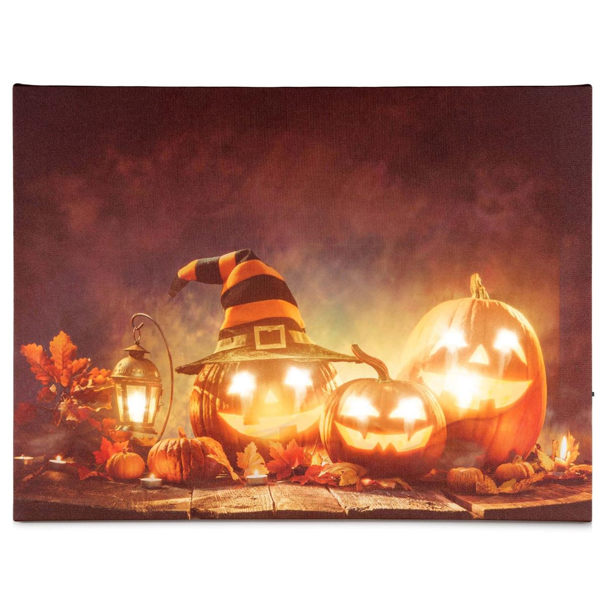 Wandbild 8 LED Kunstdruck mit Beleuchtung Happy Halloween warmweiß 30x40 cm Batt