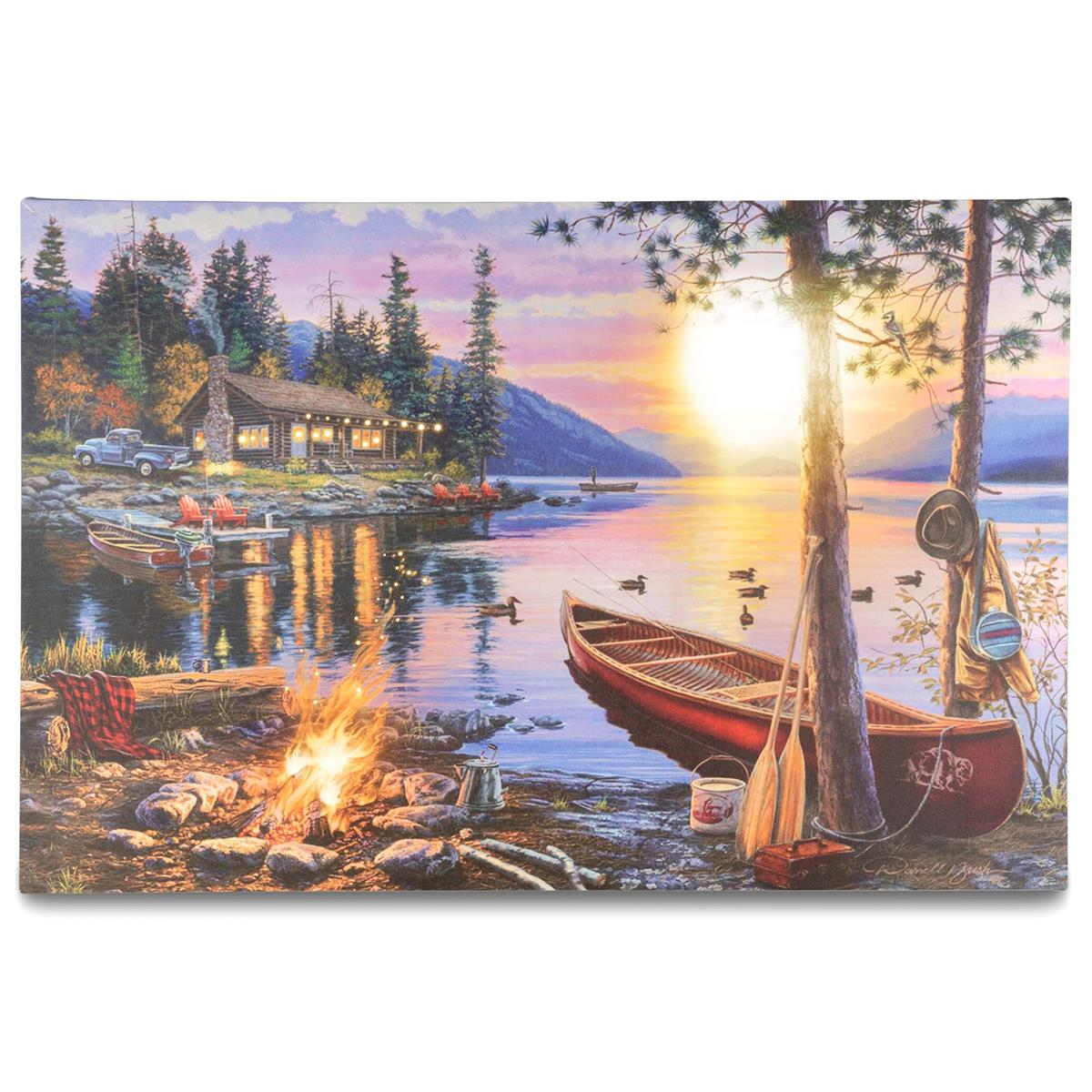 Wandbild 4 LED Kunstdruck mit Beleuchtung Sonnenuntergang Kanada 40x60cm Batterie