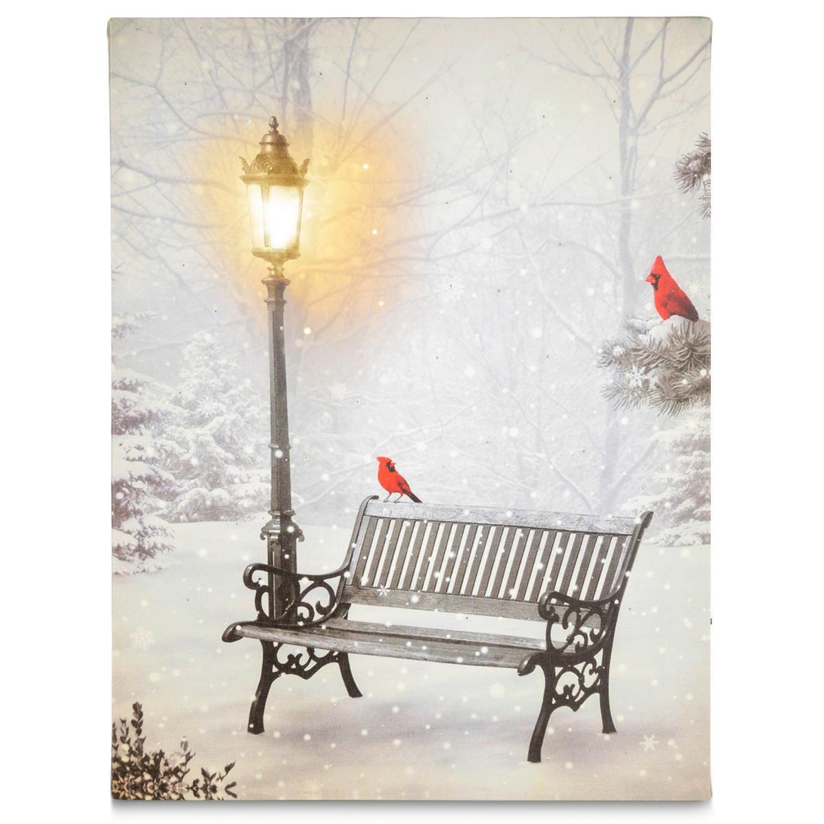 Wandbild LED Kunstdruck mit Beleuchtung Bank Winterlandschaft 30x40 cm Batterie