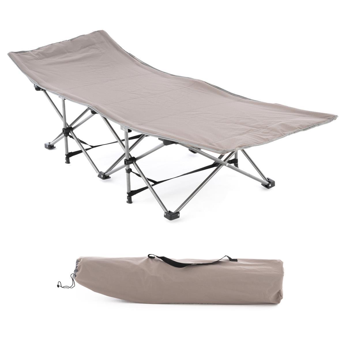 Feldbett Campingbett Gartenliege klappbar beige 188x63 cm mit Tasche