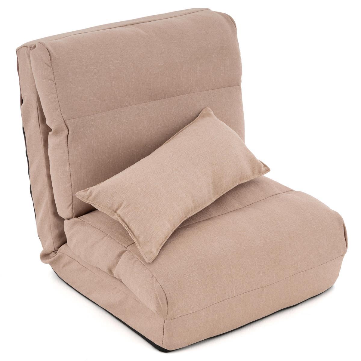 Schlafsessel Khaki 220 x 60 x 14 cm verstellbarer Lounger Bodensessel