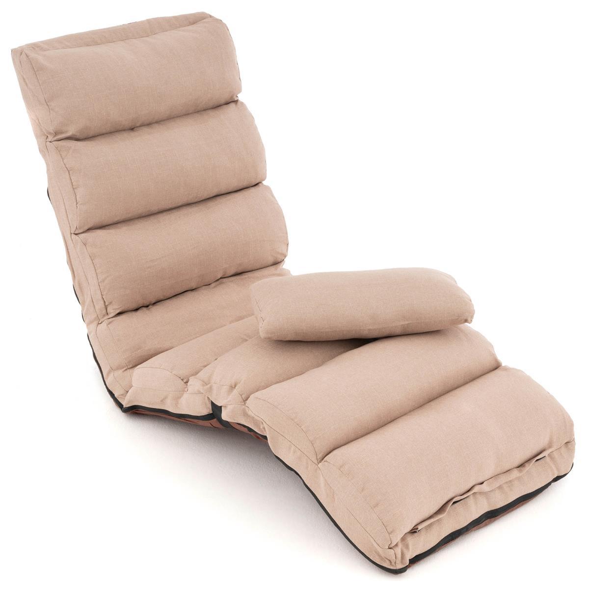 Schlafsofa 175x65x15 cm khaki verstellbares Einzelsofa Bodensessel