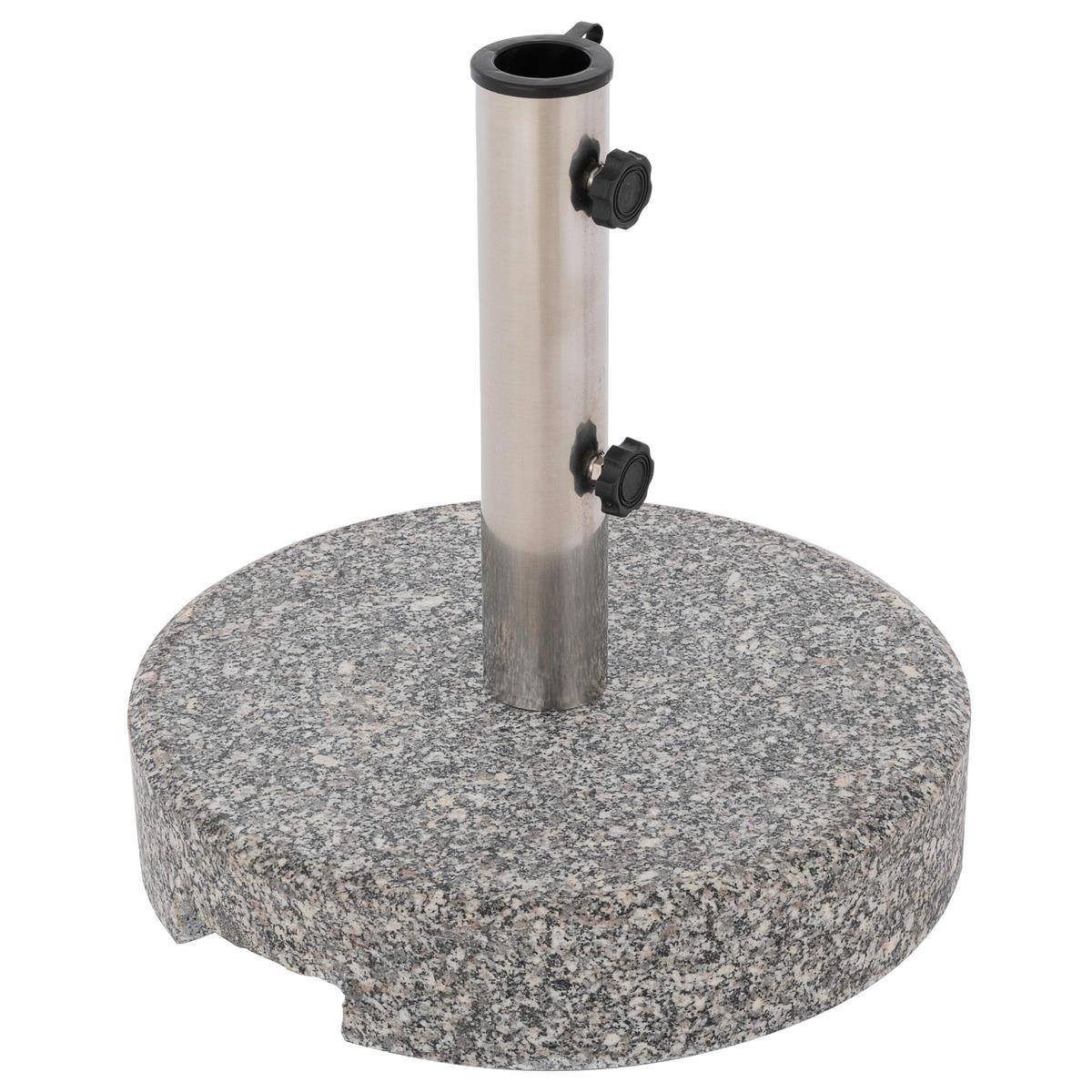 Schirmständer rund poliertes Granit ca. 25kg grau marmoriert Ø 38x38 cm