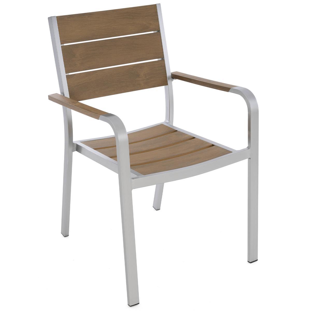 Gartenstuhl mit Armlehnen Aluminium Polywood Stapelstuhl 88x55x57 cm Gartenmöbel
