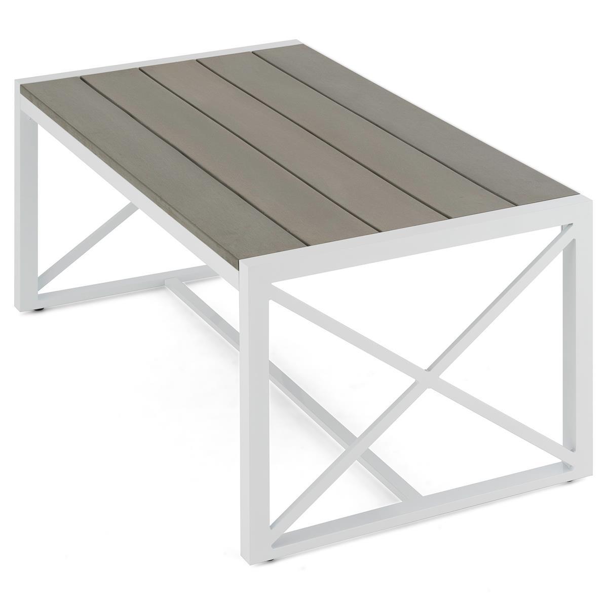 Gartentisch Aluminium Polywood 160x92x73 cm Terrassentisch Gartenmöbel Holzoptik