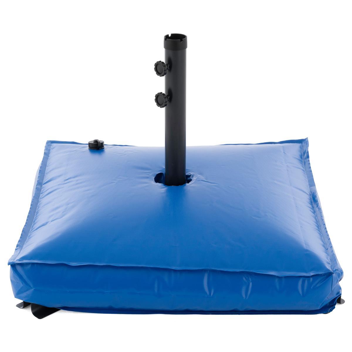 Schirmständer Set mit Wasser befüllbar bis 78 Liter Stahlfuß blau eckig 75x75cm