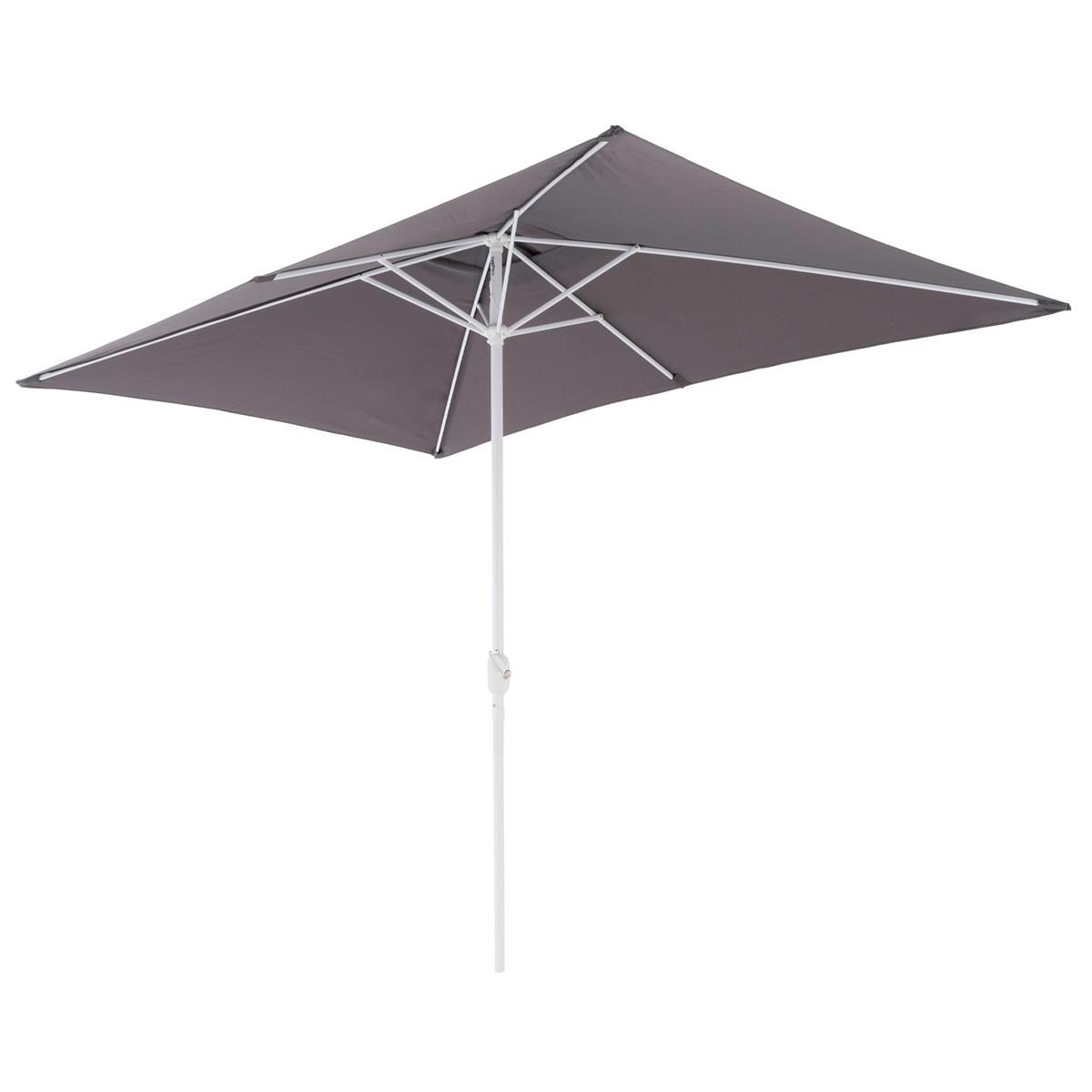 Sonnenschirm eckig 2x3m Anthrazit Kurbel Marktschirm Rechteckschirm Sonnenschutz