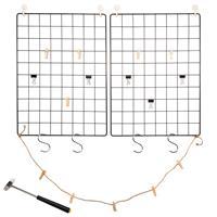 Fotowand 2er Set Gitter schwarz 42x31 cm Eisen mit Aufhängern DIY Pinnwand