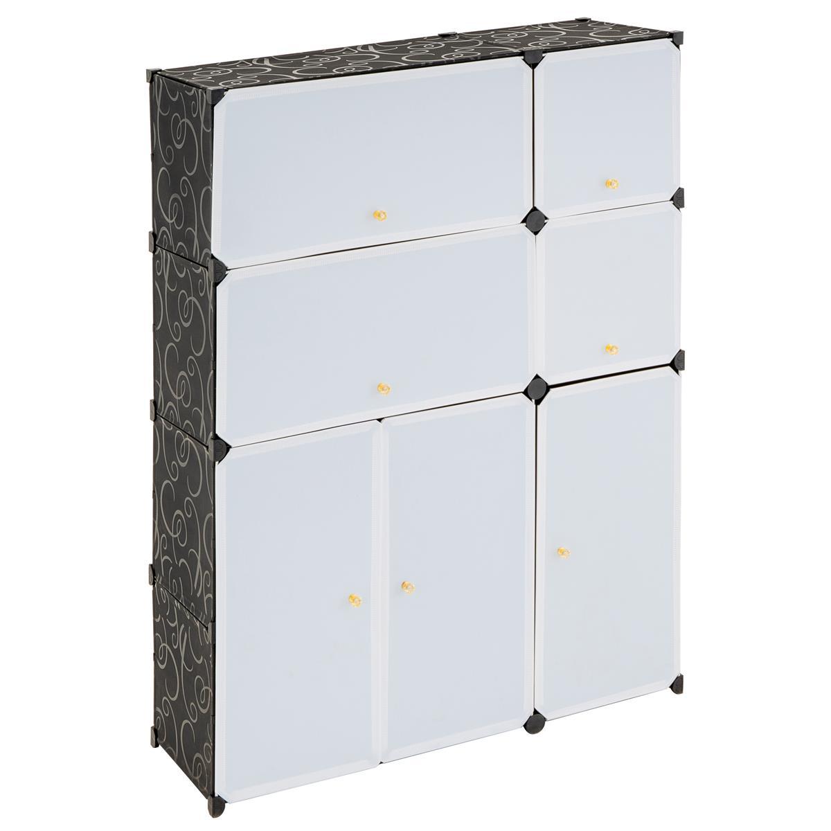 Schuhschrank Steckregal schwarz/weiß 124x92x32cm DIY platzsparend
