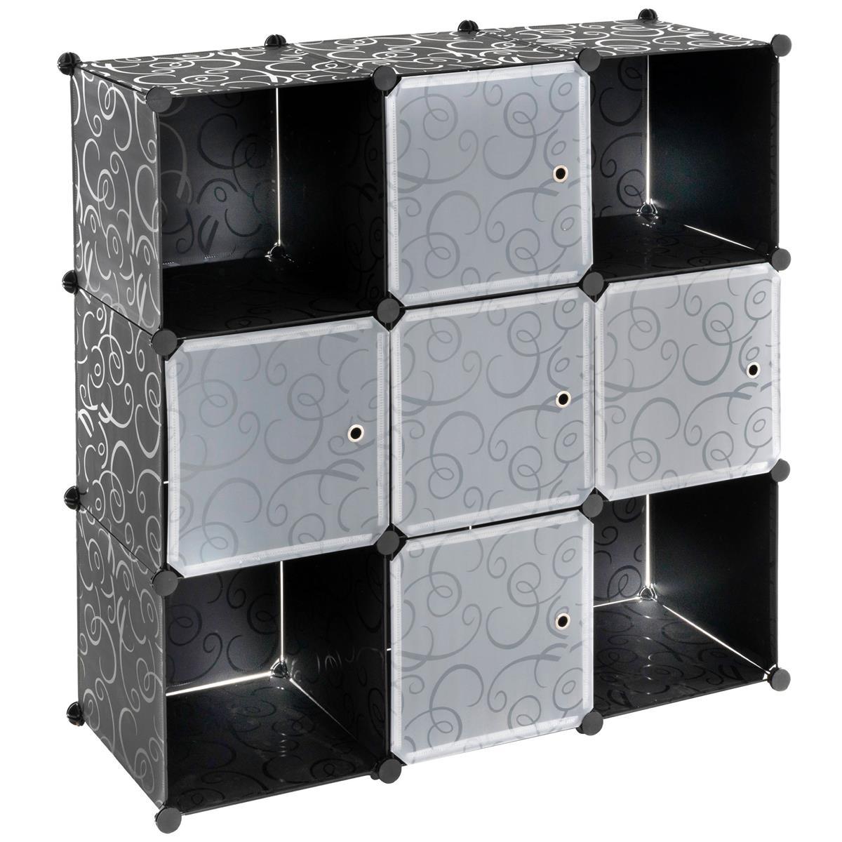 Steckregalsystem schwarz 108x110x37cm mit Ablagefächern Türen DIY erweiterbar