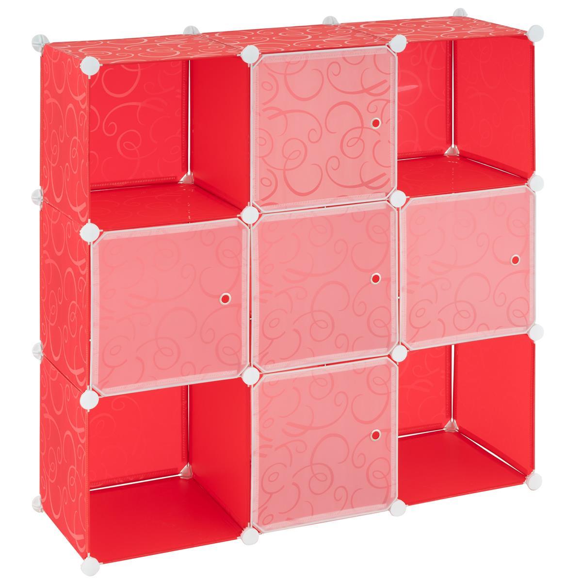 Steckregalsystem rot 108x110x37cm mit Ablagefächern Türen DIY erweiterbar
